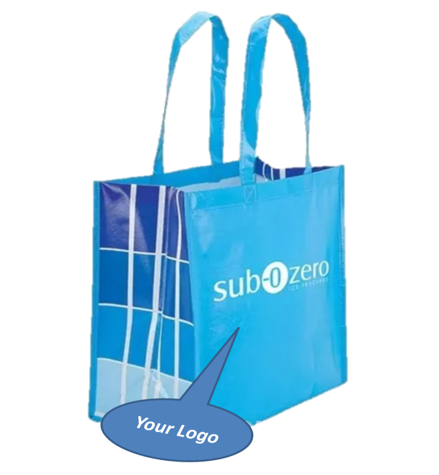 05d62f72a2 Laminated Grocery Bag - Ad On The Bag